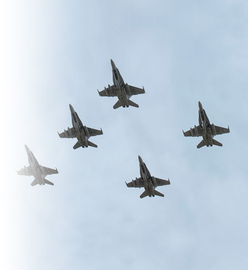 Fighter jets flying in formation